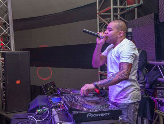Jamaica's DJ Chrome works the crowd at Sepetuka